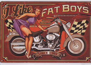 Fat Boys Motorcycles Vintage Metal Sign