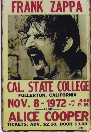 Frank Zappa at Cal State Vintage Metal Sign