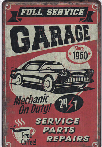 Image of Full Service Garage Vintage Metal Sign