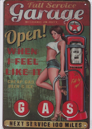 Gas and Garage Vintage Metal Sign