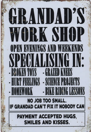 Grandads Work Shop Vintage Metal Sign