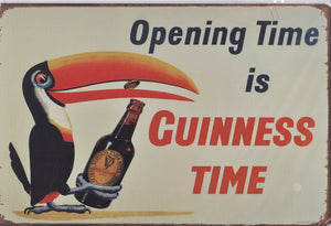 Opening Time Is Guinness Time Vintage Metal Sign
