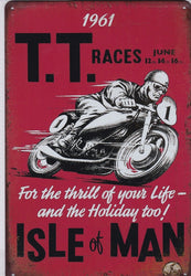 Isle of Man TT Races 1961 Vintage Metal Sign