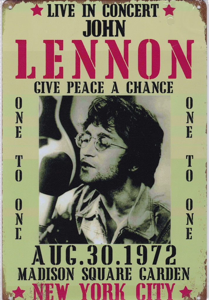 John Lennon at Madison Square Garden Vintage Metal Sign