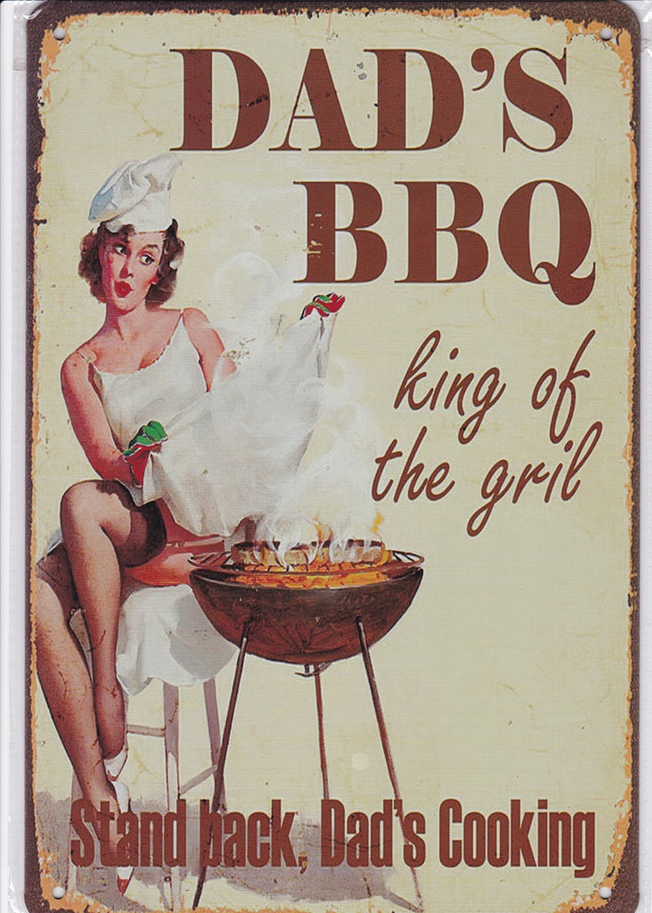 King of the Grill Dads BBQ Vintage Metal Sign