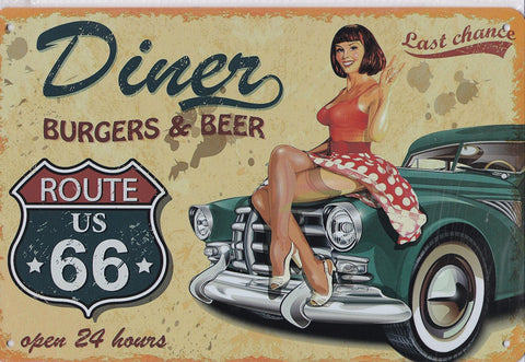 Last Chance Burgers and Beer Vintage Metal Sign