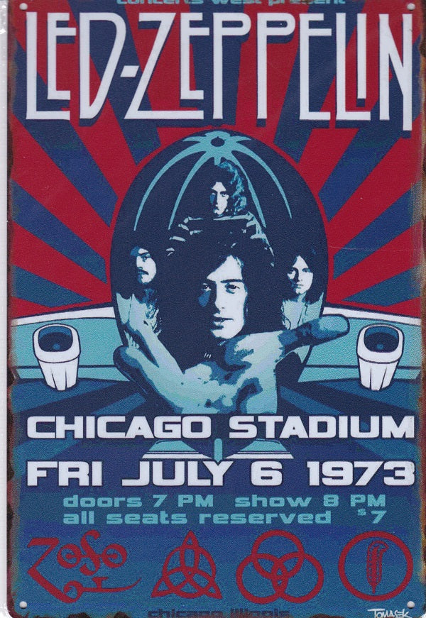 Led Zeppelin at Chicago Stadium Vintage Metal Sign
