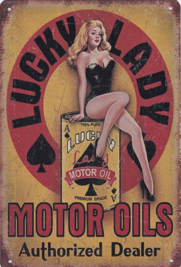 Lucky Lady Motor Oil Vintage Metal Sign