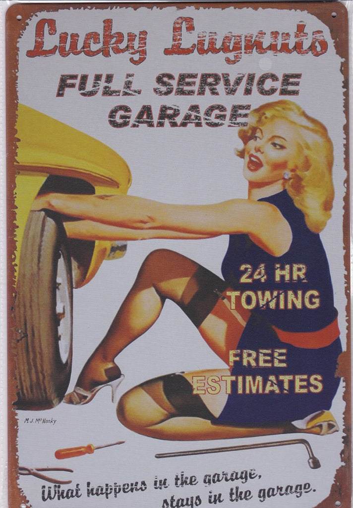 Lucky Lugnuts Garage Vintage Metal Sign