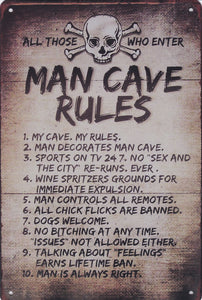 Mancave Rules Vintage Metal Sign