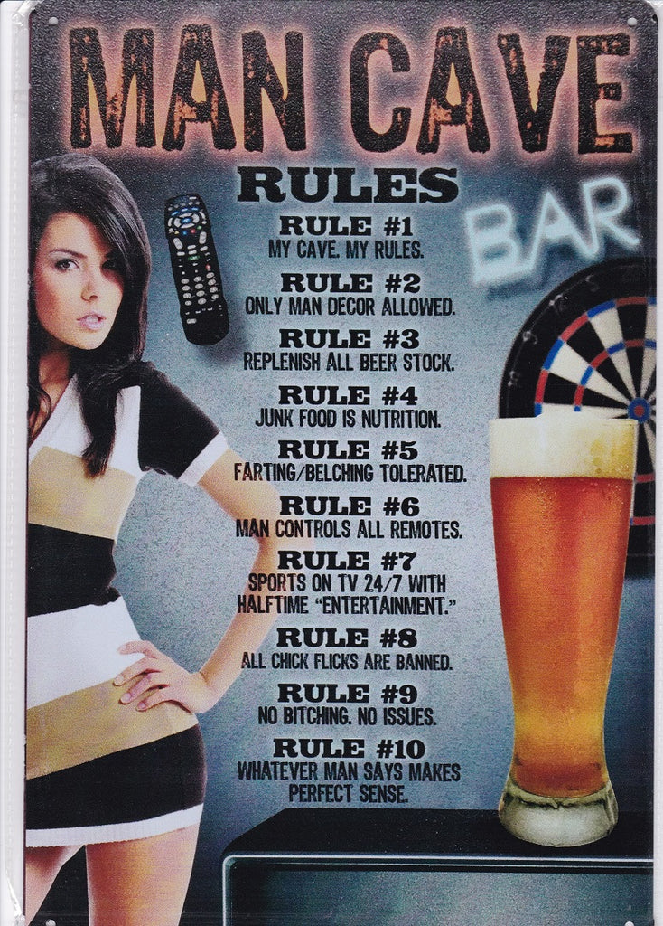 Rules for the Man Cave Vintage Metal Sign