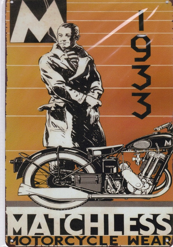 matchless motorcycles vintage metal sign
