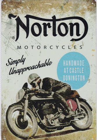 Norton - Handmade at Castle Donnington Vintage Metal Sign