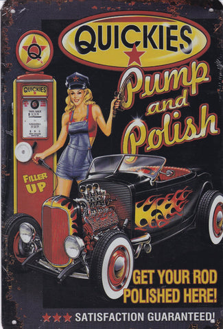 Quickies Pump and Polish Vintage Metal Sign