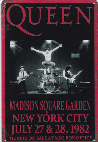 Image of Queen at Maddison Square Garden Vintage Metal Sign