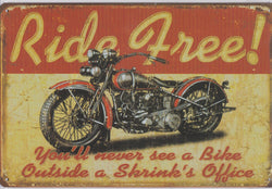 Ride Free Vintage Metal Sign