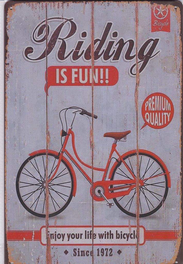 Bicycle Riding Is Fun Vintage Metal Sign