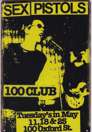 Sex Pistols at the 100 Club Vintage Metal Sign