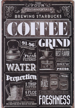 Starbucks Coffee Vintage Metal Sign
