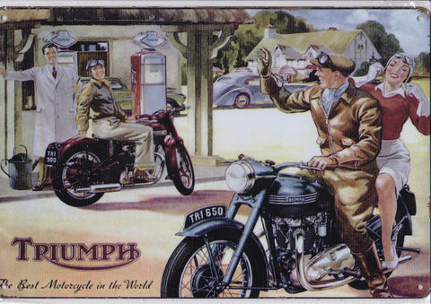 Image of Triumph Motorcycle Vintage Metal Sign