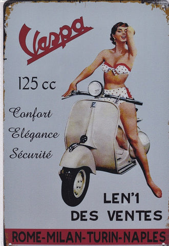 Vespa 125cc Scooter Vintage Metal Sign