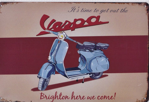 Vespa Brighton Run vintage metal sign