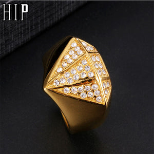HIP Hop Gold Color Stainless Steel Micro Pave Rhinestone Iced Out Bling  Square Rings for Men Jewelry Ring Dropshipping 451032cff2fe