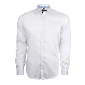 Geoffrey Beene San Andre's Twill Small Peak Collar Body Fit White Shirt with Single Cuffs