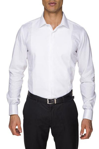 Image of Abelard Marcella Fly Front Poplin Peak Collar Dinner Shirt With Cuffs