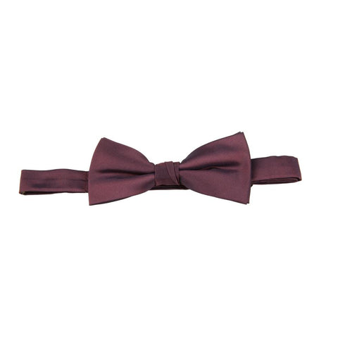 Carlo Visconti Burgundy Solid Plain Bow Tie