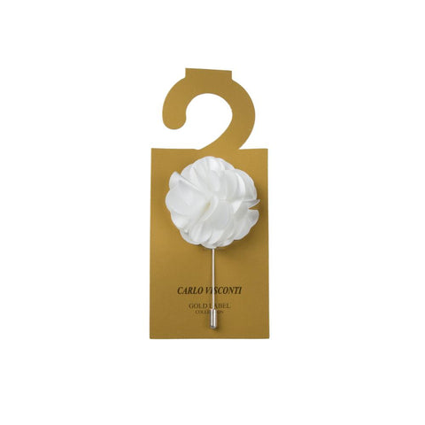 Carlo Visconti Large White Lapel Pin