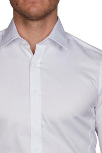 Geoffrey Beene Body Fine Twill Soho Small Spread Collar White NON Iron Shirt with Double Cuffs