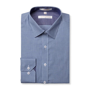 Geoffrey Beene Palmetto Puppy Tooth Modern Peak Collar Navy Easy Iron Shirt With Single Cuffs