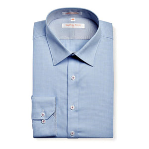 Geoffrey Beene Palmetto Puppy Tooth Modern Peak Collar Sky Easy Iron Shirt With Single Cuffs