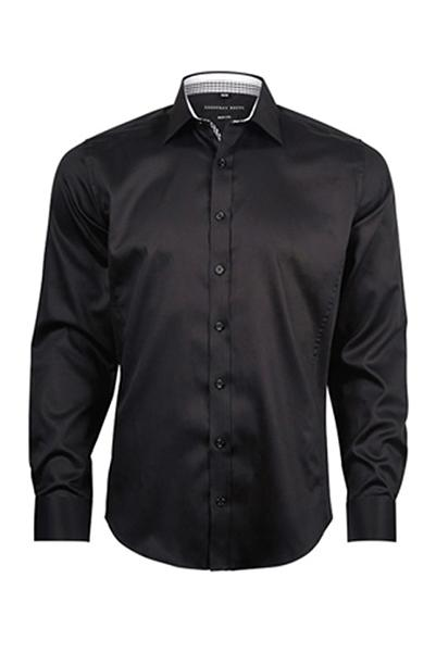 Geoffrey Beene San Andre's Twill Small Peak Collar Body Fit Black Shirt With Single Cuffs