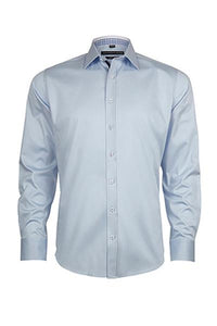 Geoffrey Beene San Andre's Twill Small Peak Collar Body Fit Sky Shirt With Single Cuffs