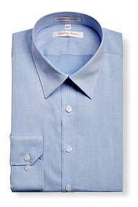 Geoffrey Beene Slim Fine Twill Modern Peak Collar Sky NON Iron Shirt With Single Cuffs