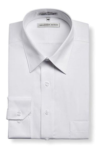 Geoffrey Beene Tailored Fine Twill Modern Peak Collar White NON Iron Shirt With Single Cuffs