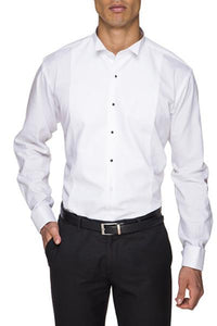 Marcella Stud Dinner Shirt In Classic Wing Tip Collar By Abelard In White