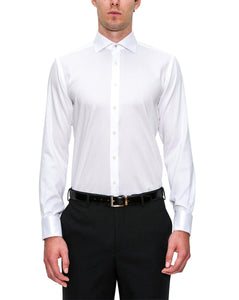 Regular Fit White Cambridge Shirt With Cuff