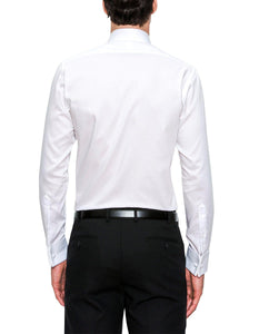 Regular Fit White Cambridge Shirt with Single Cuff