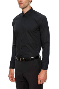 Skinny Black Shirt with Single Cuff by Gibson