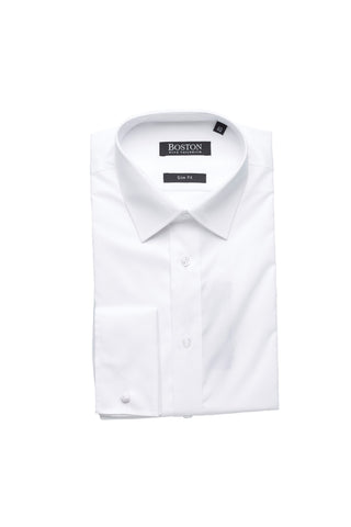 Slim Fit White NON IRON Business Shirt With French Cuff By Boston