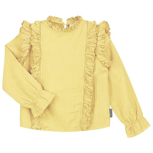 DAILY BRAT ZOE RUFFLE TOP PASTEL LEMON