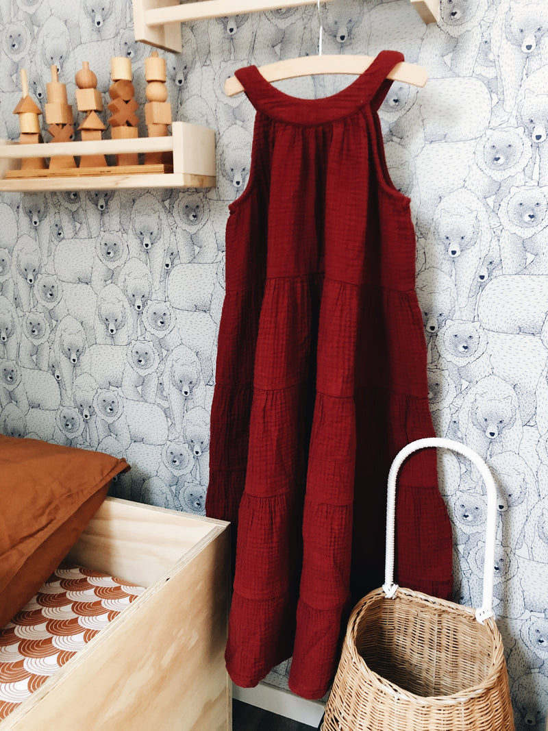 DAILY BRAT DOLLY MAXI DRESS RICH ROSEWOOD