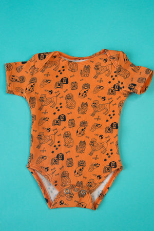 DOG ORANGE BODYSUIT ROMPER