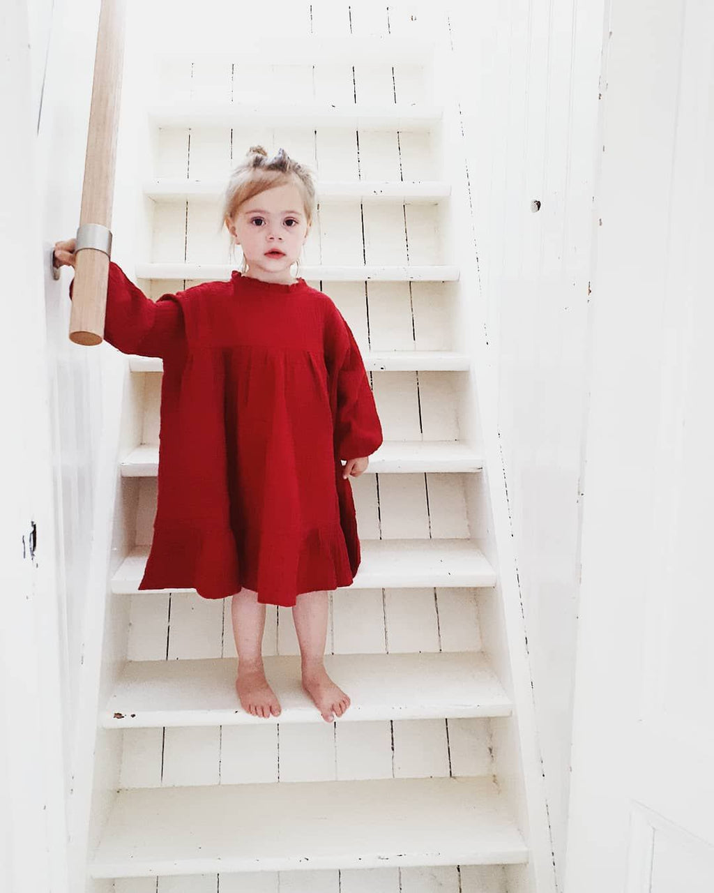 DAILY BRAT RED OVERSIZED RUFFLE  DRESS