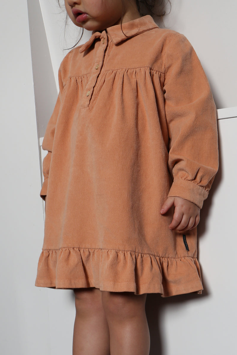 LILYAN CORDUROY DRESS COPPER ROSE