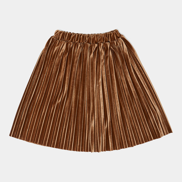 DAILY BRAT DONNA PLISSE SKIRT MOSS BROWN