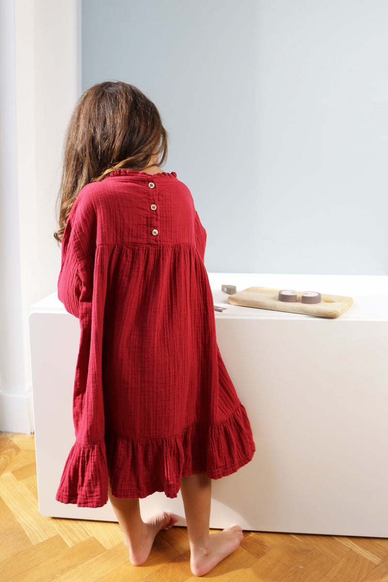 DAILY BRAT LOÏS OVERSIZED RUFFLE DRESS DAILY RED